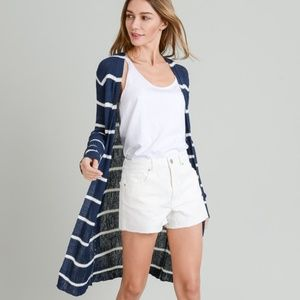 DOE & RAE Navy & White Striped Long Cardigan NWT